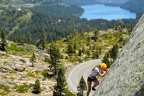 Rock climbing summer camp at Donner Lake